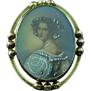 Vintage Carl Art Gold Filled Hand Painted Portrait Brooch Pin