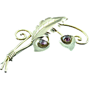 Vintage Van Dell Sterling Silver Flower Brooch Pin Gold Washed Amethyst Stones
