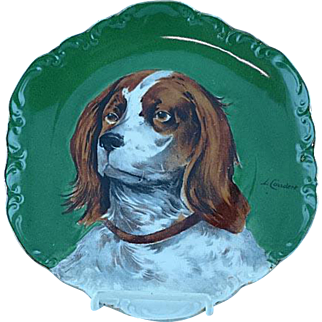 Limoges Hand Painted Charger Plaque Hunting Dog Artist Signed