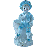 Antique German Bisque Porcelain Match Holder Victorian Child