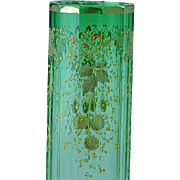 Emerald Green To Clear Bohemian Moser Glass Vase With Enamel Strawberry Decoration
