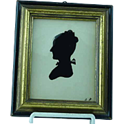 Antique Peale Museum Hollow Cut Silhouette of Woman Signed