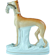"Large 11 /12"" Tall Antique English Staffordshire Dog Whippet Greyhound Figurine Ca 1850"