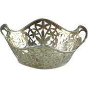 Wonderful National Silver Co Sterling Silver Basket Flower & Leaf Cut Out