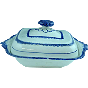 Antique Staffordshire Leeds Blue Edge Covered Serving Dish