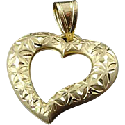 Solid 14k Yellow Gold 3D Heart Diamond Cut Finish Diamond Cut Pendant Charm