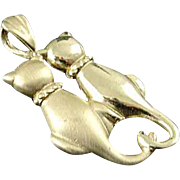 Solid 14K Yellow Gold Loving Cats Kittys Pendant Charm Estate Find