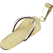 Solid 14K Yellow Gold Sandal Flip Flop Pendant Charm Estate Find