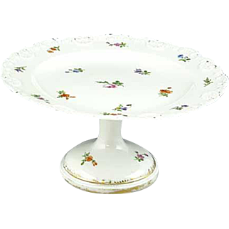 Antique 1st Quality Hand Painted Meissen Floral Cake Stand