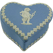Blue English Hudson Jasperware Heart Shaped Trinket Box