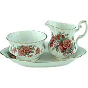 "Royal Albert Creamer and Sugar Bowl with Tray ""Centennial Rose"""