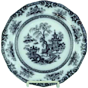 "Antique 9 1/2"" Staffordshire Mulberry Plate Hong Pattern Ca 1850"