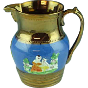 """Antique 6"""" Staffordshire Copper Luster Pitcher With Embossed Lady With Dog"""