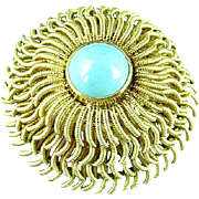 18k Yellow Gold Cartier Circular Flower Blossom Brooch Pin With Persian Turquoise Center