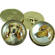14K Gold Essex Crystal Cuff Links With Retriever Dogs