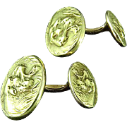 Antique Krementz 14k Gold Roaring Tiger Cuff Links