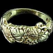 10K Multi Color Gold Black Hills Gold Leaves, Grape Design Ring Band Size 6 1/4