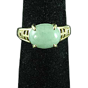 Vintage 14K Yellow Gold & Apple Green Jade Ring