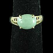 Vintage 14K Yellow Gold & Apple Green Jade Ring