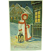1913 Embossed Christmas Postcard Girl With Tree & Lantern
