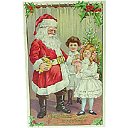 1911 Christmas Santa Embossed Postcard Stecher Card Series 227D