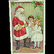 1911 Christmas Santa Embossed Postcard Stecher Card Series 227D