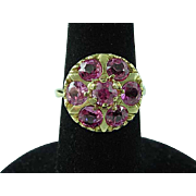 3 1/2 Carat 14K Gold Cluster Cocktail Ring Size 7 1/4 With 3 1/2 Carats