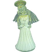 "6"" Murano Glass Angel In White Dress And Gold Foil Flakes"