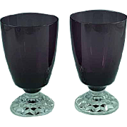 Pair Of Amethyst Elegant Glass Water Goblets with Clear Feet