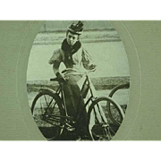 Cabinet Photo Of A Lady With Boneshaker Bicycle Named and Dated 1899