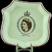 1953 Burleigh Ware Queen Elizabeth Coronation Pin Dish