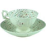 Staffordshire Soft Paste Sprig Cup and Saucer Ca 1830