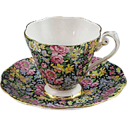 Vintage 1950's Royal Standard English Bone China Chintz Black Cup and Saucer