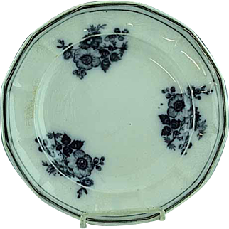 """Antique 9 3/4"""" Staffordshire Floral Mulberry Plate Ca 1850"""