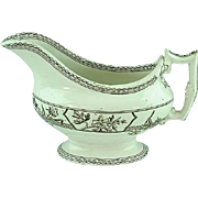 Antique Staffordshire Aesthetic Transfer Gravy Boat Ca 1870's