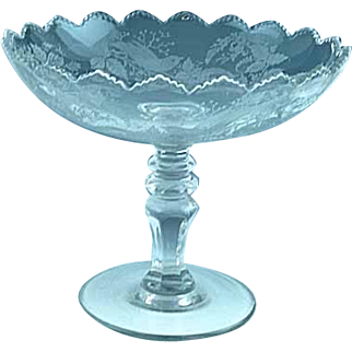 Large Antique Etched Glass Fruit Compote Birds Nest Flowers And Vines