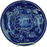 Dark Blue Staffordshire Transferware Dinner Plate Pains Hill Surrey Hall 1825