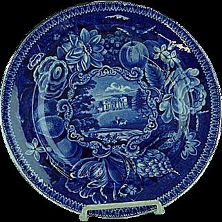 Dark Blue Staffordshire Transferware Dinner Plate Pains Hill Surrey Hall 1825