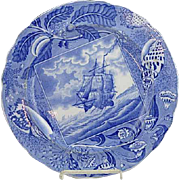 Staffordshire Pearlware Shipping Series Plate With Sea Shell Border C 1815