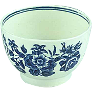 English 18th Century Dr. Wall Worcester Blue Floral Handleless Cup Ca 1865