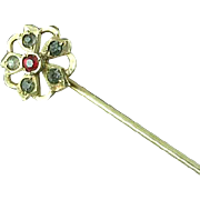 Victorian 10K Gold Stick Pin With Faceted Clear & Red Stones