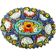Victorian Italian Micro Mosaic Brooch Pin
