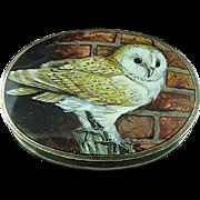 Outstanding Sterling Silver Trinket Box With Enamel Owl Top