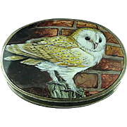 Outstanding Sterling Silver Trinket Box With Enamel Owl Top