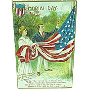 1909 Embossed Memorial Day Postcard Artist Signed Chapman Our Flag