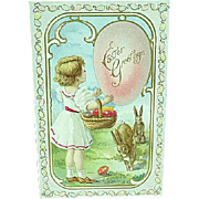 1913 Embossed Easter Postcard Girl With Basket Of Eggs & Rabbits