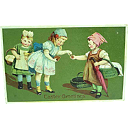 1910 Embossed Easter Postcard Girls With Baskets Of Eggs