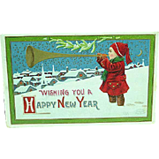 1913 Embossed New Years Postcard Artist Signed Wall