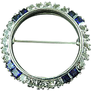 Vintage Sterling Silver Circle Brooch Pin With Clear & Cobalt Blue Stones