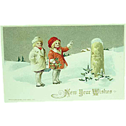 1913 Embossed New Years Postcard Artist Signed Winsch